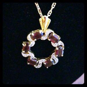 Vintage Necklace w/ Gemstone, Sterling Silver